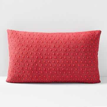 """Embroidered Dot Pillow Cover, 12""""x21"""", City Red - West Elm"""