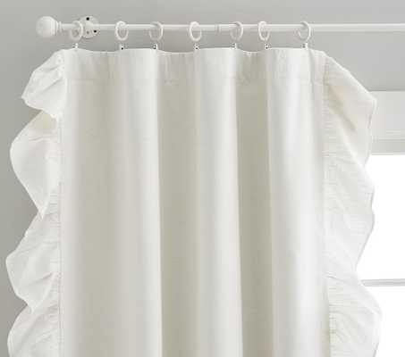 Evelyn Ruffle Border Blackout Curtain, 63 Inches, White, Set of 2 - Pottery Barn Kids