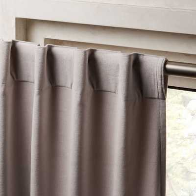 "Velvet Silver Grey Curtain Panel 48""x108"" - CB2"