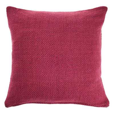 LR Home Crone Berry Pink Solid Cozy Poly-fill 18 in. x 18 in. Throw Pillow - Home Depot