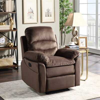 Recliner Chair With Padded Seat - Microfiber Home Theater Seating - Manual Reclining Sofa For Bedroom & Living Room - Wayfair