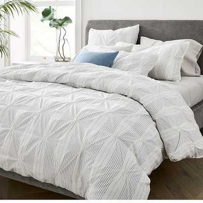 Pintuck Stripe Duvet & Standard Sham, Stone White, Full/Queen - West Elm