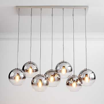 "Sculptural Glass 7-Light Globe Chandelier, 8"", Silver Ombre Shade, Nickel Canopy - West Elm"