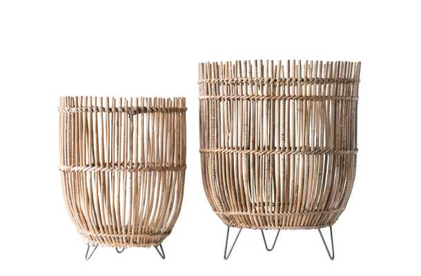 Round Arurog Baskets with Metal Clothespin Feet (Set of 2 Sizes) - Nomad Home