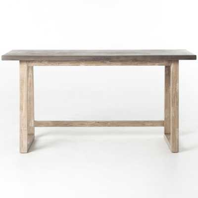 Kate Rustic Lodge Grey Concrete Tabletop Brown Acacia Wood Desk - Kathy Kuo Home