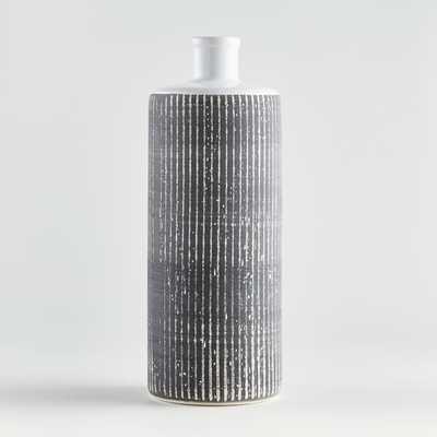 Elmslie Black-and-White Ceramic Bottle Vase - Crate and Barrel