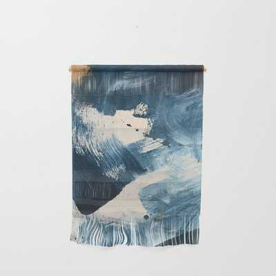 """Against The Current: A Bold, Minimal Abstract Acrylic Piece In Blue, White And Gold Wall Hanging by Alyssa Hamilton Art - Large 23 1/4"""" x 31 1/2"""" - Society6"""