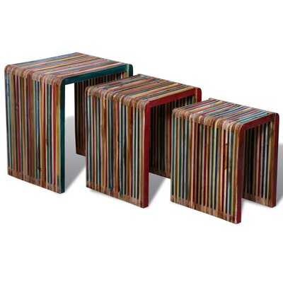 Dakota Fields Nesting Table Set 3 Pieces Colorful Reclaimed Teak - Wayfair