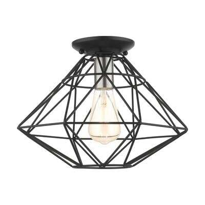 1 - Light 13.5'' Caged Geometric Flush Mount - Wayfair