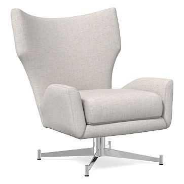 Hemming Swivel Base Chair, Performance Coastal Linen, Stone White, Polished Nickel - West Elm