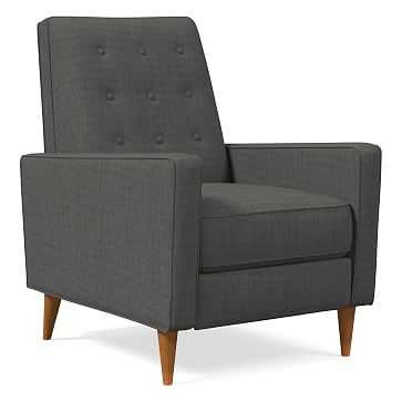 Rhys MidCentury Recliner, Performance Basket Slub, Pewter Gray, Pecan - West Elm