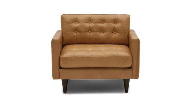 Brown Eliot Mid Century Modern Leather Chair - Santiago Camel - Mocha - Joybird