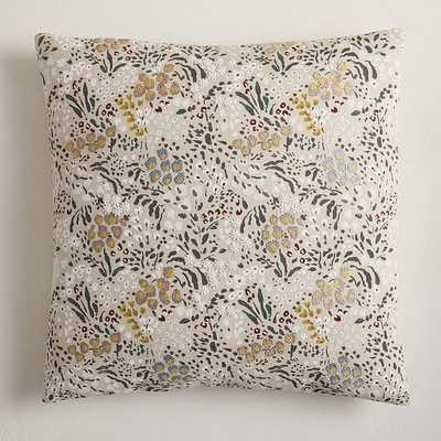 """Embellished Blooms Pillow Cover, 18""""x18"""", Natural Flax, Set of 2 - West Elm"""