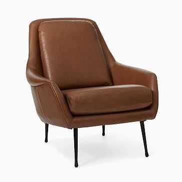 Lottie Chair, Poly, Vegan Leather, Saddle, Dark Pewter - West Elm