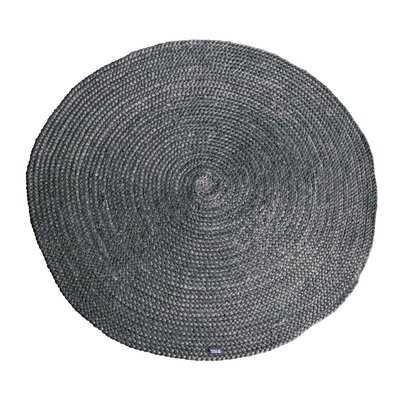 Round Handmade Jute Gray Area Rug - Wayfair