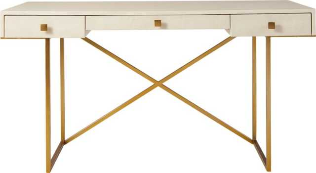 Avalon Ivory Faux Shagreen Desk - CB2