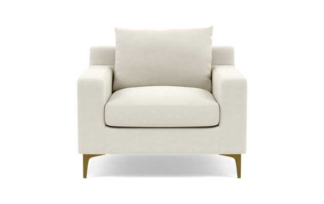 Sloan Accent Chair with White Chalk Fabric, down alternative cushions, and Brass Plated legs - Interior Define