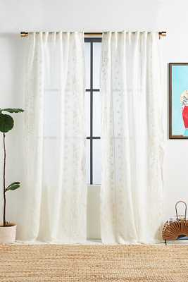 """Embroidered Manette Curtain By Anthropologie in White Size 108"""" - Anthropologie"""
