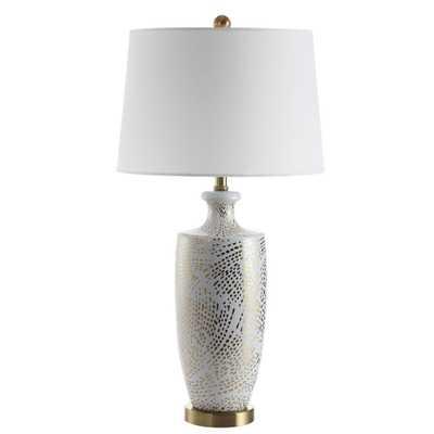 Safavieh Linnea 29.5 in. White/Gold Table Lamp - Home Depot