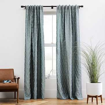 "Honeycomb Jacquard Curtain, Stormy Sea, 48""x84"" - West Elm"