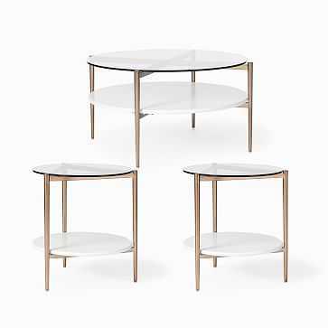 "Mid-Century Art Display 34"" Round Coffee Table & 2 Side Tables Set, Cloud - West Elm"
