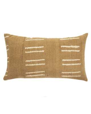 snake bone mud cloth lumbar pillow in tan - PillowPia