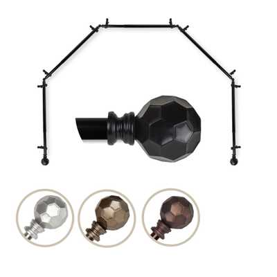 """EMOH 13/16"""" Dia Adjustable 5 Sided Bay Window Curtain Rod 28 to 48"""" (each side) in Black with Elliana Finials - Home Depot"""