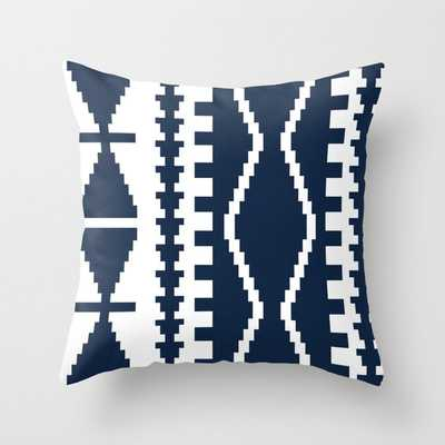 """Corum In Navy Blue Couch Throw Pillow by Becky Bailey - Cover (16"""" x 16"""") with pillow insert - Outdoor Pillow - Society6"""