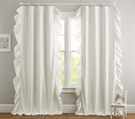 Evelyn Ruffle Border Blackout Curtain, 96 Inches, White - Pottery Barn Kids
