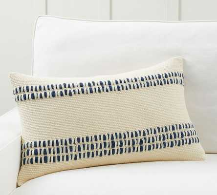"Reed Striped Lumbar Pillow Cover, 16 x 26"", Navy - Pottery Barn"