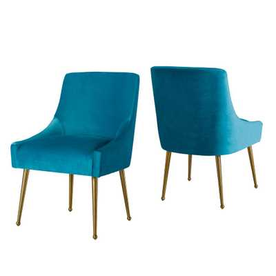 Boyel Living Living Room Electroplated stainless steel frame Dining Chair (Set of 2), Blue - Home Depot