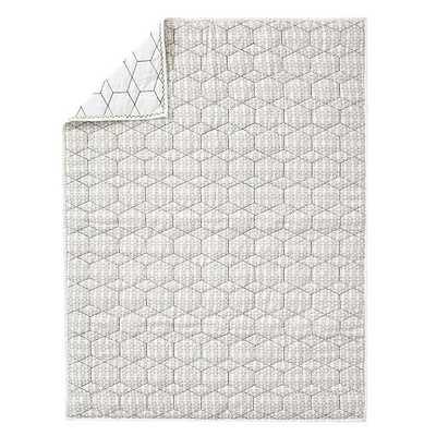 Honeycomb Toddler Quilt, Black & White - West Elm