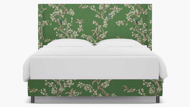 Modern Wingback Bed | King | Jade Cherry Blossom - The Inside