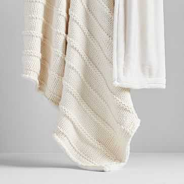 Faux Fur Chunky Knit Throw, Natural Canvas - West Elm