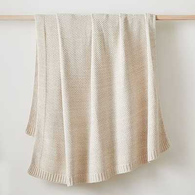 "Two Tone Cotton Knit Throw, 50""x60"", Natural Flax - West Elm"