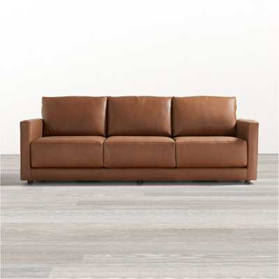 "Gather 98"" Petite Leather Sofa - Crate and Barrel"