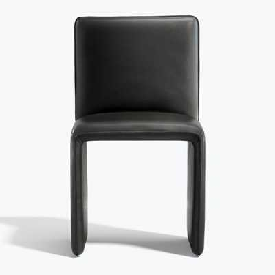 Venn Black Leather Side Chair - Crate and Barrel