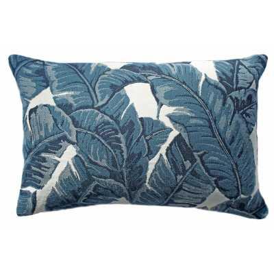 The Fabric Shoppe Tropics Sunbrella Indoor/Outdoor Floral Lumbar Pillow Color: Blue/White - Perigold