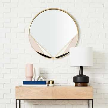 Deco Brass Mirror, Circle, Antique Brass - West Elm