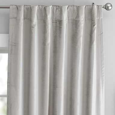 "west elm x pbt Cotton Luster Velvet Curtain, 96"", Platnium - Pottery Barn Teen"