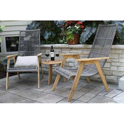 Largent Teak Patio Chair with Cushions and Ottoman - Birch Lane