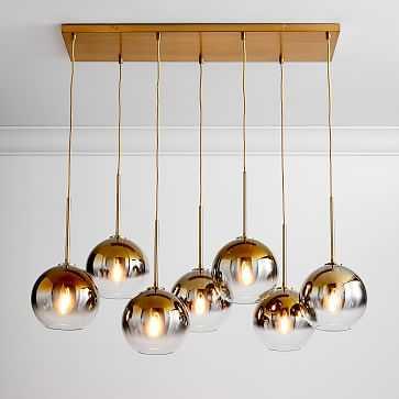 """Sculptural Glass 7-Light Globe Chandelier, 8.5"""", Gold Ombre Shade, Antique Brass Canopy - West Elm"""