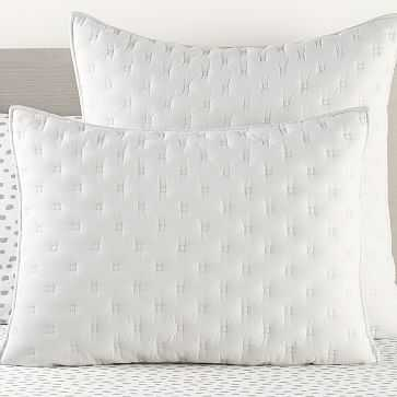 Square Stitch Standard Sham, Gray - West Elm