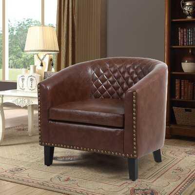"Armonta 29.13"" W Faux Leather Barrel Chair - Wayfair"