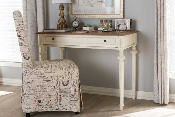 Baxton Studio Marquetterie French Provincial Weathered Oak and Whitewash Writing Desk - Lark Interiors