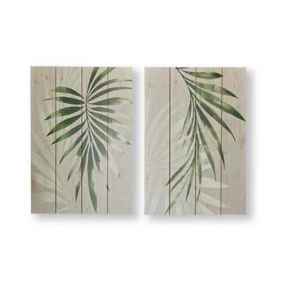 GRAHAM & BROWN Peaceful Palm Leaves Wood Wall Art Set of 2, Green/Neutral - Home Depot