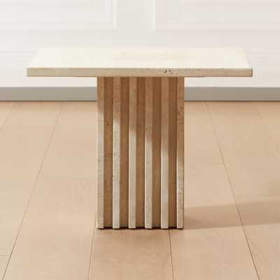 Carve Travertine Large Cocktail Table - CB2