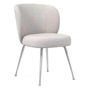 Greer Dining Chair, Performance Coastal Linen, Stone White, Chrome - West Elm