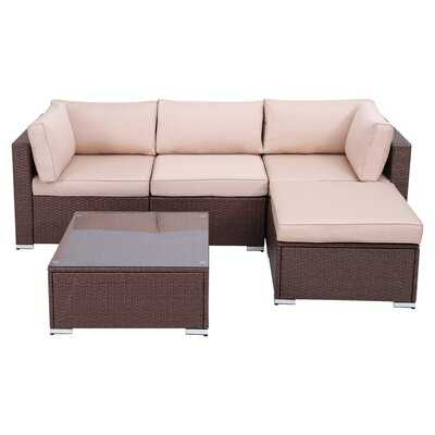 Outdoor 5 Piece Furniture Set Patio Sectional Rattan Sofa Sets, All Weather PE Wicker Couch Conversation Set With Coffee Table, Brown Wicker Beige Cushions - Wayfair