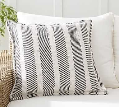 "Aviv Striped Indoor/Outdoor Pillow , 22 x 22"", Black Multi - Pottery Barn"